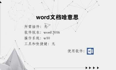 word文档啥意思