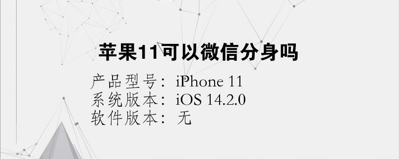 手机知识:苹果11可以微信分身吗