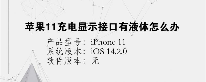手机知识:苹果11充电显示接口有液体怎么办