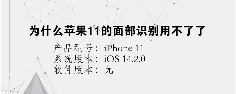手机知识:为什么苹果11的面部识别用不了了