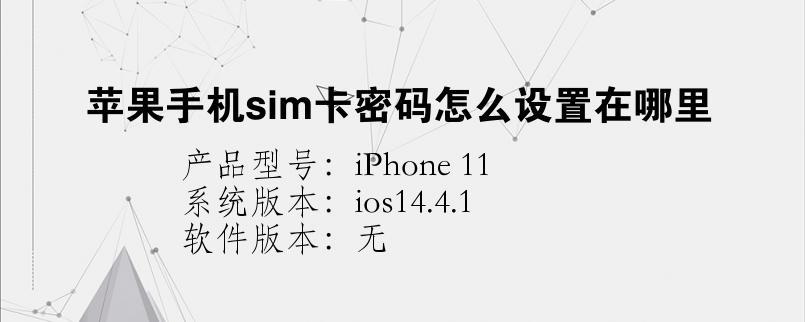 手机知识:苹果手机sim卡密码怎么设置在哪里