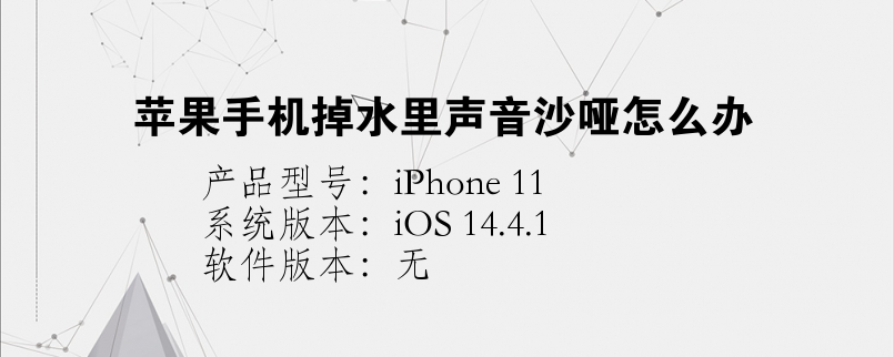 手机知识:苹果手机掉水里声音沙哑怎么办
