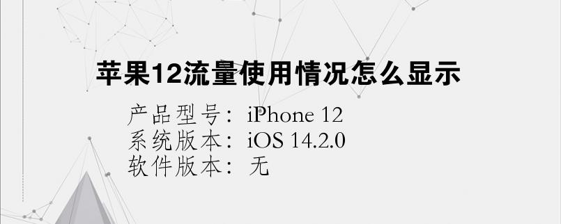手机知识:苹果12流量使用情况怎么显示