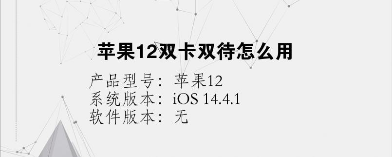 苹果12双卡双待怎么用